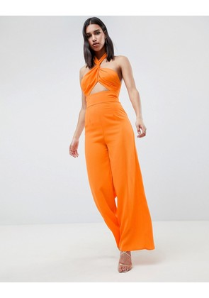 ASOS DESIGN Cross Front Jumpsuit With Twist Neck And Wide Leg - Orange