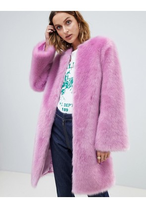 ASOS DESIGN faux fur midi coat with flared sleeve - Lilac