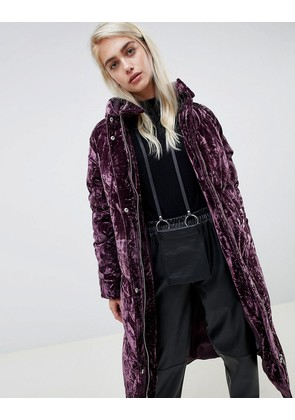 ASOS DESIGN longline velvet padded jacket - Purple