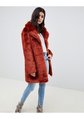 ASOS DESIGN plush faux fur coat - Conker