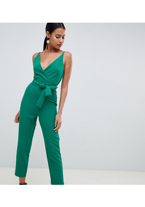 ASOS DESIGN wrap front jumpsuit with peg leg and self belt - Forest green