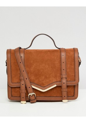 ASOS DESIGN v-bar structured satchel bag - Tan