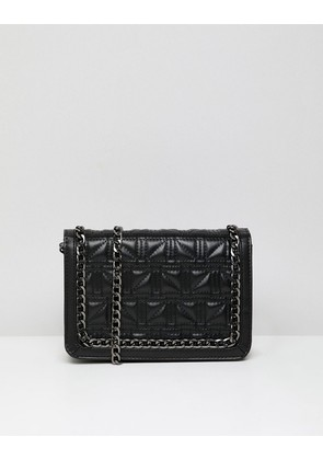 ASOS DESIGN Square Quilt Chain Cross Body Bag In Water Based Pu - Black