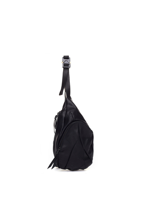 Distortion Black Leather Fanny Pack