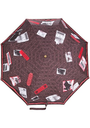 Moschino delivery label umbrella - Brown