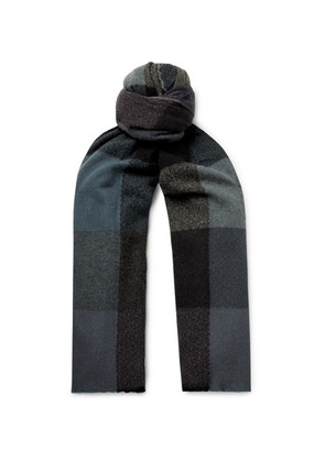 Begg & Co - Brodick Busby Checked Cashmere Scarf - Navy