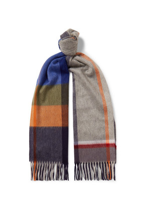 Begg & Co - Arran Fringed Checked Cashmere Scarf - Multi