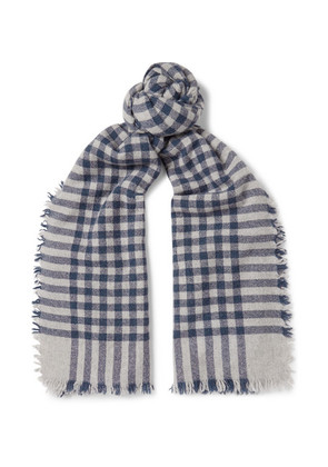 Beaufort Fringed Checked Wool And Cashmere-blend Scarf
