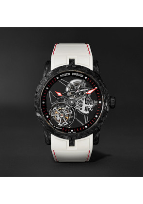 Excalibur Spider Skeleton Automatic Flying Tourbillon 42mm Carbon And Rubber Watch