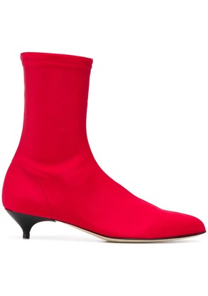 Gia Couture kitten heel ankle boots - Red