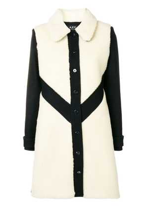 A.P.C. contrast single-breasted coat - Black