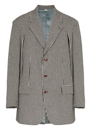 Gucci check slit wool cashmere blend jacket - Black