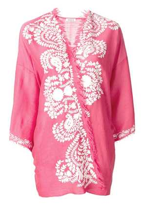 P.A.R.O.S.H. cashmere contrast embroidered kimono jacket - Pink