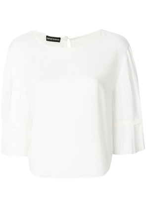 Emporio Armani pleated-sleeve blouse - White