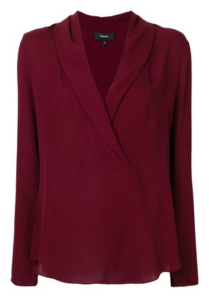 Theory deep V neck blouse - Red