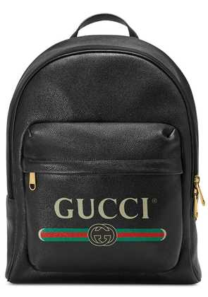 Gucci Gucci Print leather backpack - Black