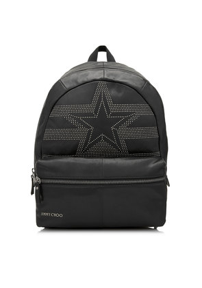 REED Black Leather Backpack with Star Logo Mini Studs