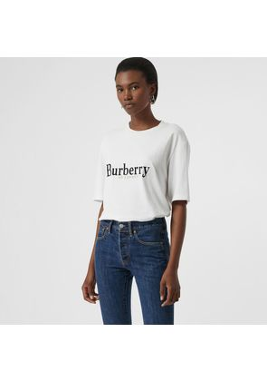 Burberry Embroidered Archive Logo Cotton T-shirt, White