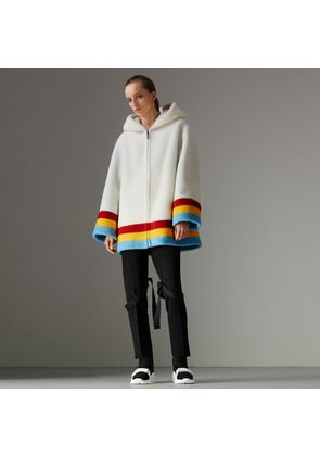 Burberry Faux Shearling Oversized Hooded Jacket, White