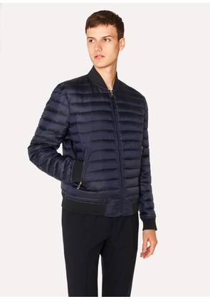 Men's Navy Down-Filled Bomber Jacket