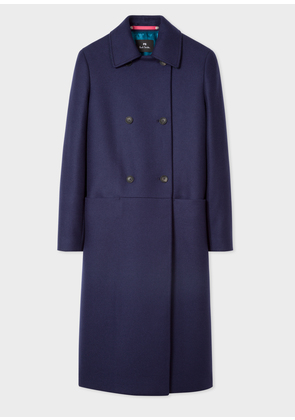 Women's Navy Double-Breasted Wool-Cashmere Overcoat