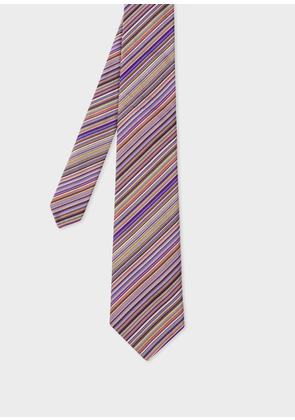 Men's Purple Signature Stripe Silk Tie