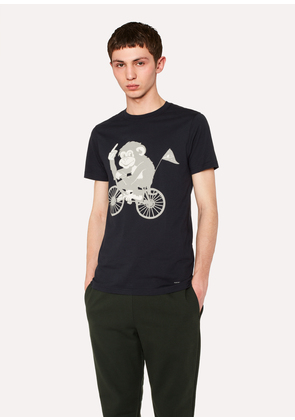 Men's Slim-Fit Navy 'Cycling Monkey' Print T-Shirt