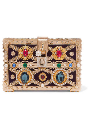 Dolce & Gabbana - Dolce Box Embellished Metallic Patent-leather And Velvet Clutch - Gold