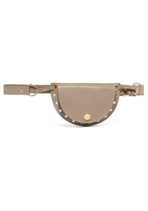 See By Chloé - Kriss Eyelet-embellished Textured-leather Belt Bag - Gray
