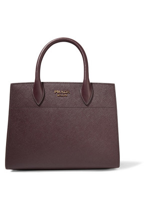 Prada - Bibliothèque Textured-leather Tote - Burgundy