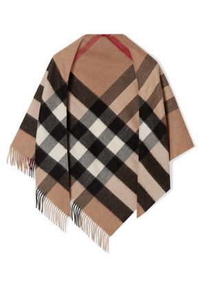 Burberry - Fringed Checked Cashmere Scarf - Tan