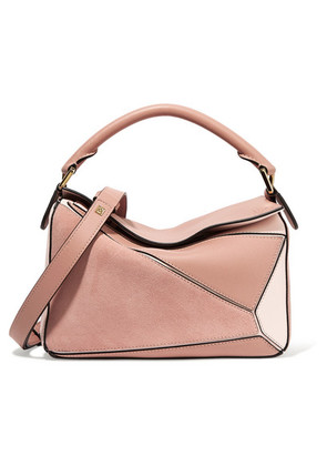 Loewe - Puzzle Suede And Leather Shoulder Bag - Blush