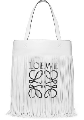 Loewe - Fringed Printed Leather Tote - White