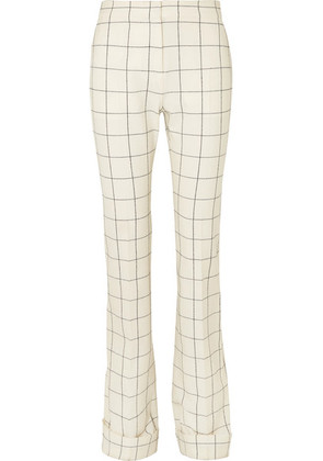 Ralph & Russo - Checked Wool-blend Flared Pants - White