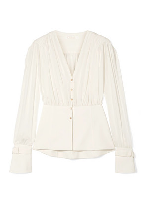Chloé - Paneled Silk-chiffon And Cady Blouse - Ivory