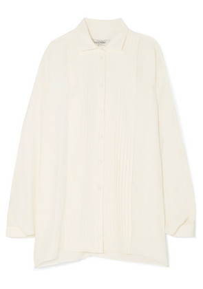 Valentino - Pleated Silk-satin Blouse - Off-white