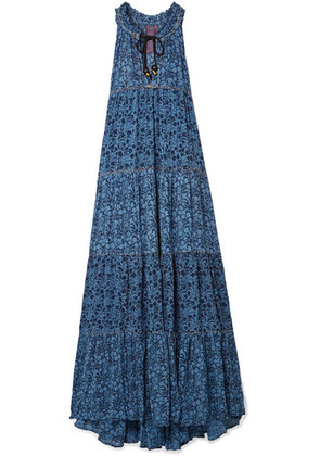 Yvonne S - Tiered Floral-print Georgette Maxi Dress - Blue
