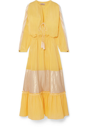 Zeus+Dione - Jackueline Paneled Silk-habotai Midi Dress - Yellow