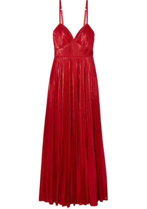 Marchesa Notte - Crocheted Lace-trimmed Pleated Lamé Gown - Red