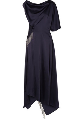 Christopher Kane - Asymmetric Crystal-embellished Satin Maxi Dress - Navy