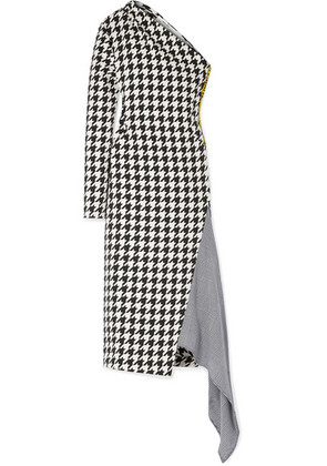 Off-White - Asymmetric Houndstooth Wool-blend Dress - Black
