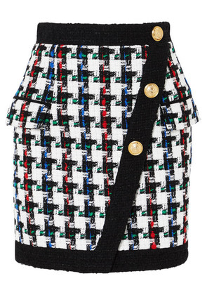 Balmain - Button-embellished Tweed Mini Skirt - Black