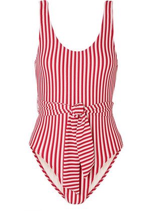 Peony - Belted Striped Jacquard-knit Swimsuit - Crimson