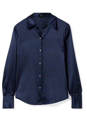 Theory - Perfect Stretch-silk Satin Shirt - Navy