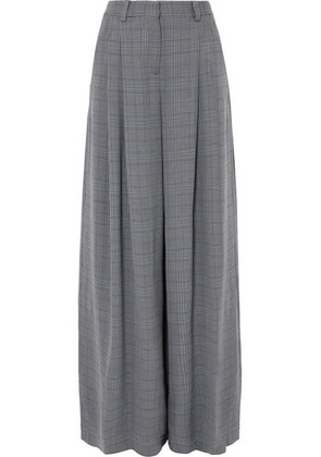 Off-White - Galles Checked Woven Wide-leg Pants - Gray