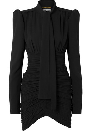 Saint Laurent - Tie-front Ruched Crepe Mini Dress - Black
