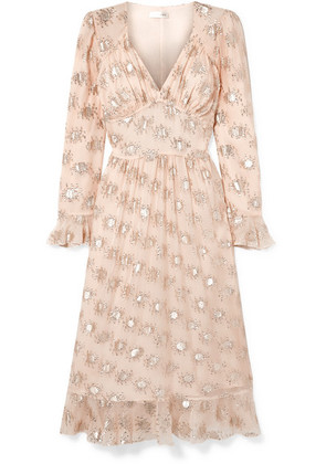 Stine Goya - William Metallic Fil Coupé Silk-blend Midi Dress - Cream
