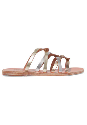 Ancient Greek Sandals - Donousa Metallic Leather Sandals - Silver