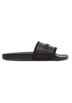 Gucci - Pursuit Horsebit-detailed Perforated Rubber Slides - Black