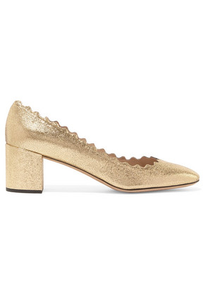 Chloé - Lauren Scalloped Cracked-leather Pumps - Gold